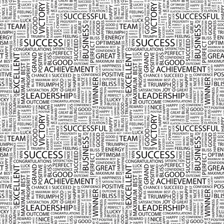 financial reward: SUCCESS. Seamless vector pattern with word cloud. Illustration with different association terms.