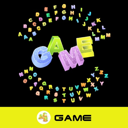 GAME. Vector 3d illustration with colored alphabet.   Vector