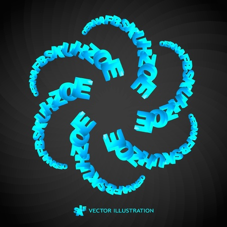 Abstract vector background with letter mix. Vector illustration.   Vector
