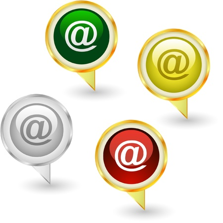 electronic mail: E-mail icon set for web.   Illustration