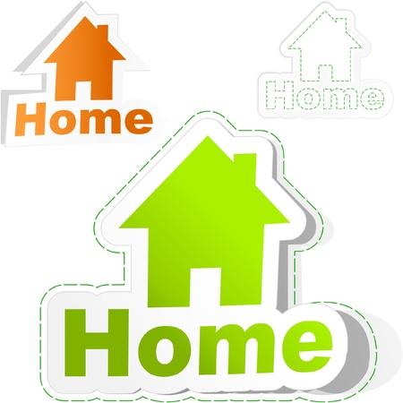 Adesivo casa insieme. Illustrazione vettoriale.