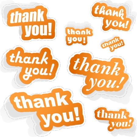 Thank you. Sticker collection. Vector illustration. Vector