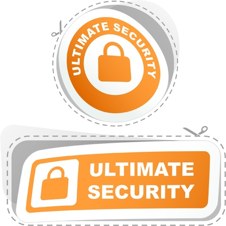 ULTIMATE SECURITY. Sticker set. Vector