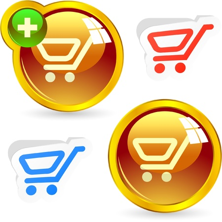 money online: Shopping cart. Vector buttons.   Illustration