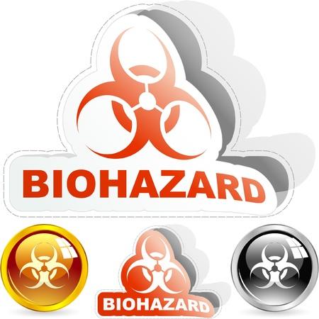 hazardous area sign: Signo de peligro biol�gico. Conjunto de vectores.