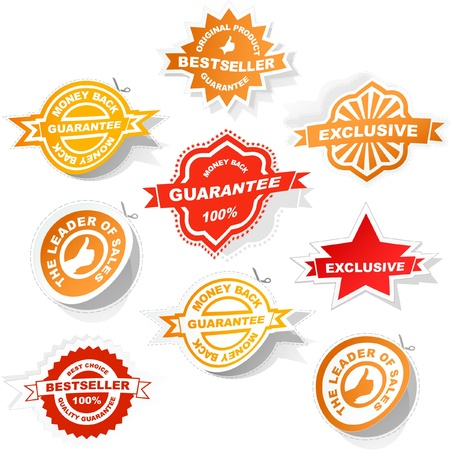 Vector guarantee sticker set. Vector