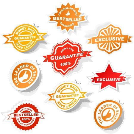 Vector guarantee sticker set. Vector