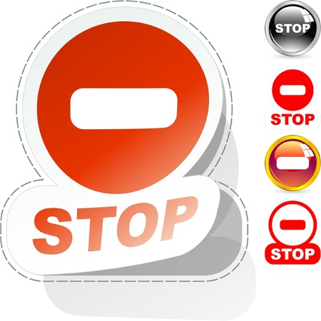 Stop button set for web. Stock Vector - 8947635