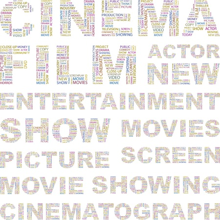 cinema screen: CINEMA. Illustration with different association terms.