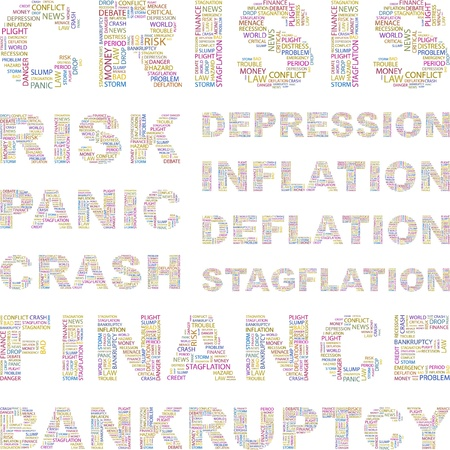 endangerment: CRISIS. Illustration with different association terms.    Illustration