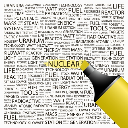 NUCLEAR. Highlighter over background with different association terms. illustration.