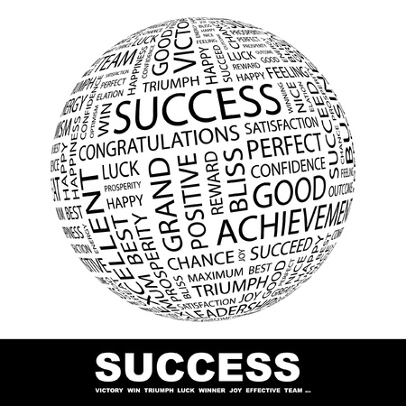 SUCCESS. Globe with different association terms. Wordcloud vector illustration.   Vector