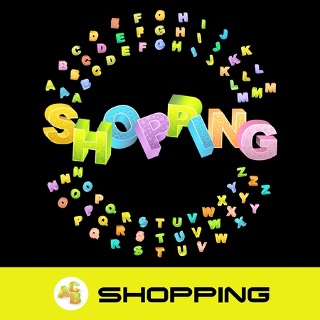 display type: SHOPPING. Vector 3d illustration with colored alphabet. Illustration