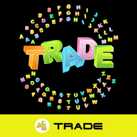 import trade: TRADE. Vector 3d illustration with colored alphabet.