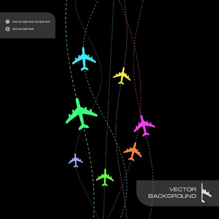 Abstract background with airplane lines.   Vector