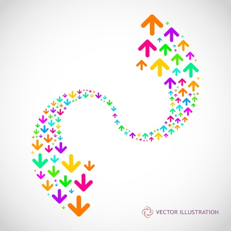 initiate: Arrows. Abstract background.   Illustration