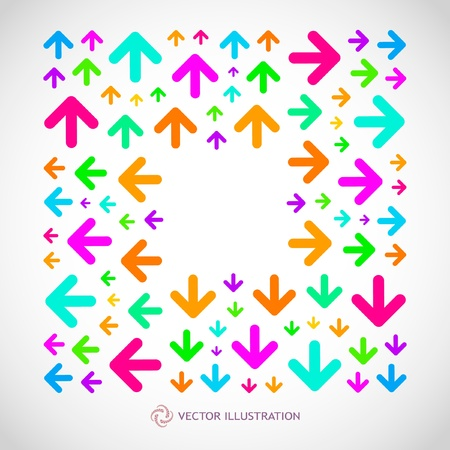 different courses: Arrows. Abstract frame.