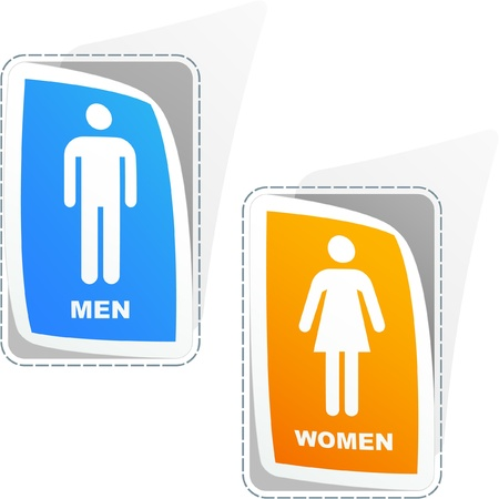 Men and women sticker set. Vector