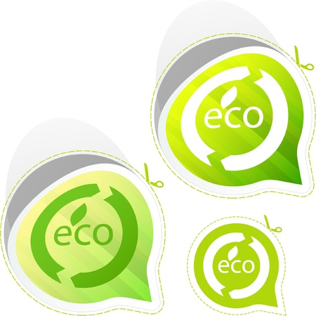 Set of eco friendly, natural and organic labels. Stock Vector - 9397634