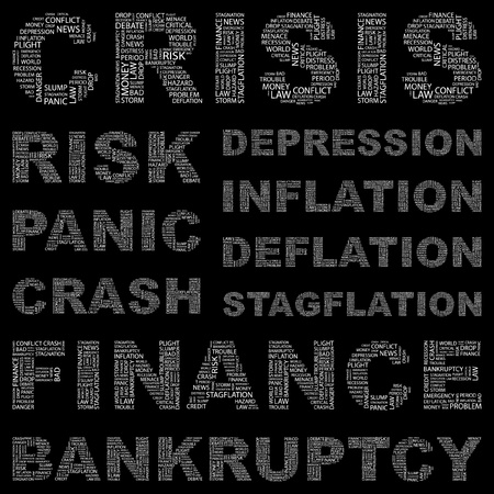 contingency: CRISIS. Word collage on black background. Vector illustration. Illustration with different association terms.