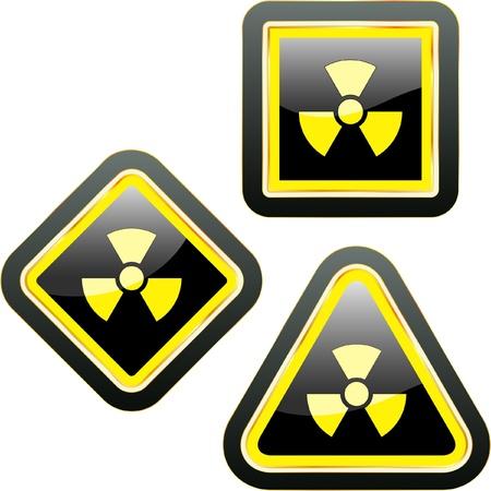 hazardous work: Radioactive icon. Vector set.