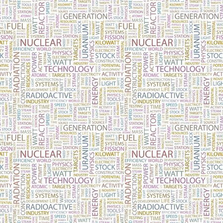 kilowatts: NUCLEAR. Seamless vector pattern with word cloud. Illustration with different association terms.   Illustration