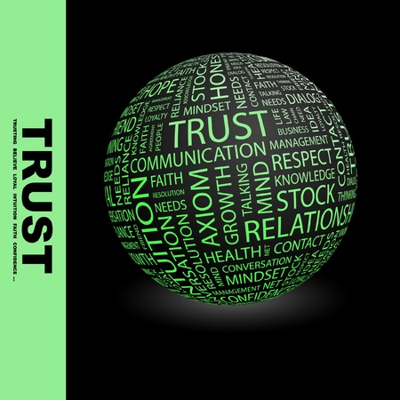 community health care: TRUST. Globe with different association terms. Wordcloud vector illustration.   Illustration