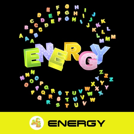 steam turbine: ENERGY. Vector 3d illustration with colored alphabet.