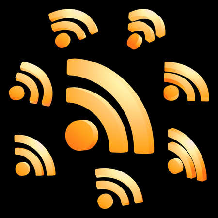syndicated: RSS glossy icon set. Illustration