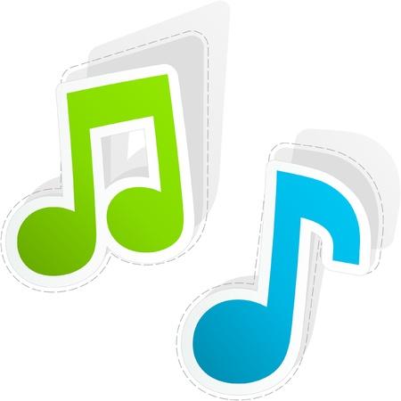 Vector musica adesivo set.