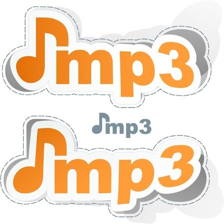 MP3. Vector music sticker set. Stock Vector - 9023939