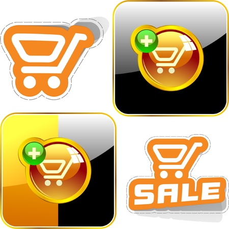 Shopping cart. Vector button set. Vector