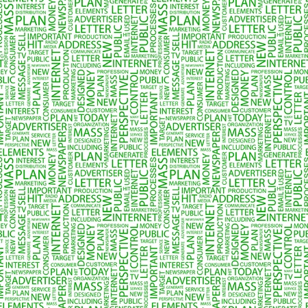 copywriter: ADVERTISING. Seamless vector pattern with word cloud. Illustration with different association terms.