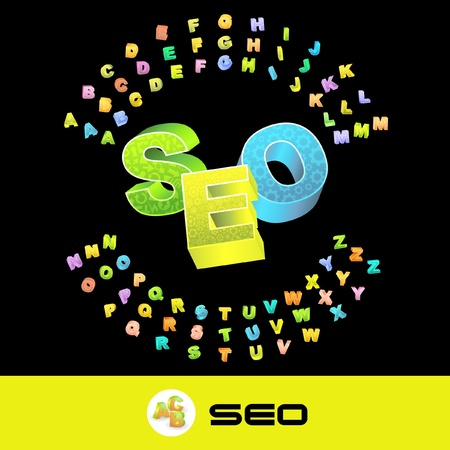 SEO. Vector 3d illustration with colored alphabet. Vector