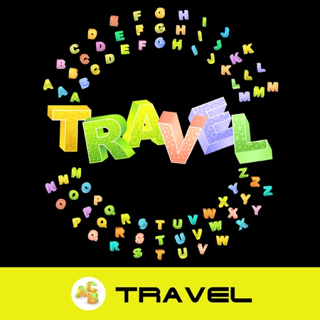set going: TRAVEL. Vector 3d illustration with colored alphabet.