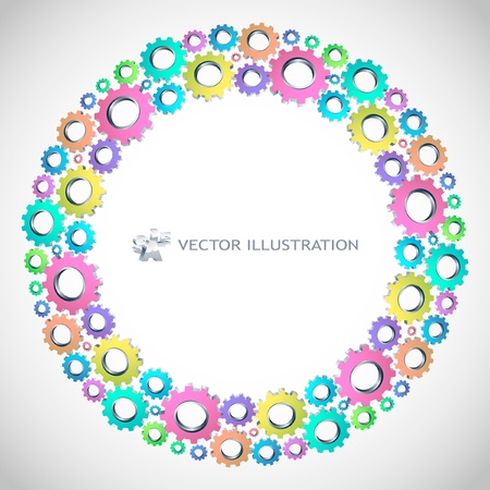 factory automation: Vector gear background. Abstract illustration.