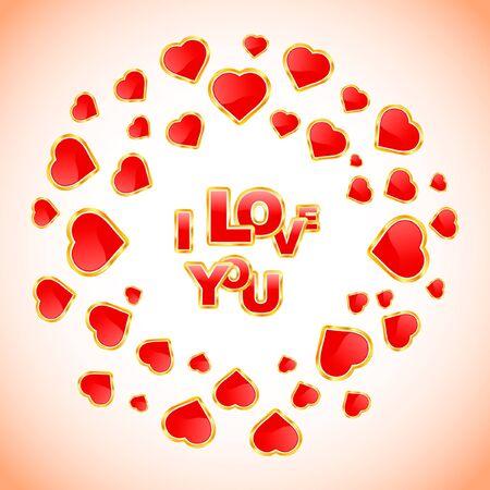 amur: I love you. Love message.    Illustration