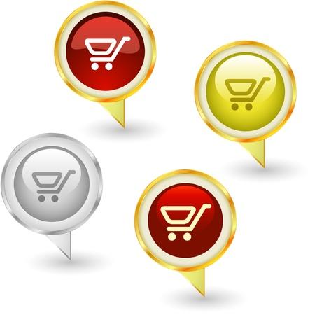 Shopping cart. Vector icon set. Stock Vector - 9021941