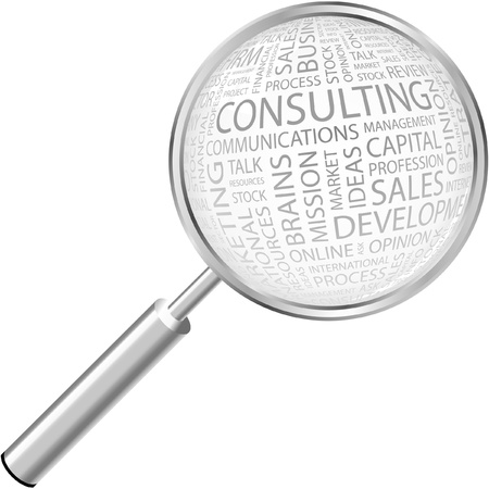 consult: CONSULTING. Magnifying glass over background with different association terms. Illustration