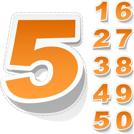 Number sticker set. Vector