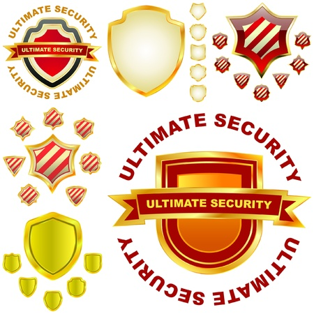 Ultimate secutity. Shields. Vector