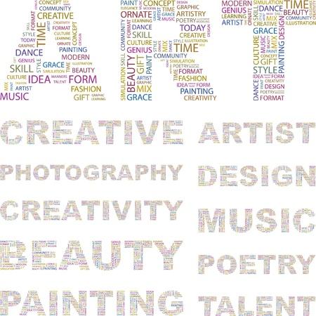 시뮬레이션: ART. Illustration with different association terms.