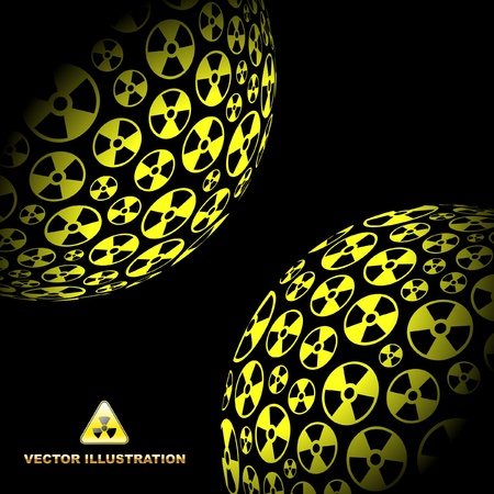 ejaculation: Radioactive globes. Vector illustration.
