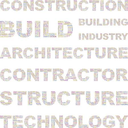건축가: CONSTRUCTION. Illustration with different association terms.    일러스트