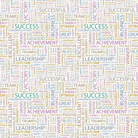 SUCCESS. Seamless vector pattern with word cloud. Illustration with different association terms.   Vector