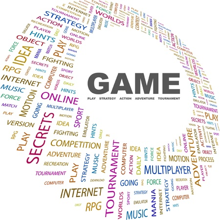 mix fighting: GAME. Word collage on white background. Vector illustration. Illustration with different association terms.    Illustration