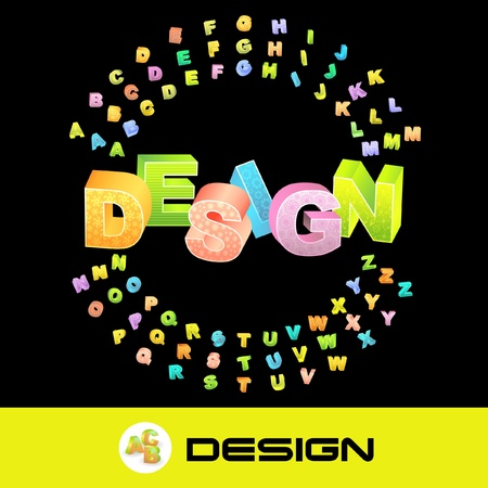DESIGN. Vector 3d illustration with colored alphabet.  Vector