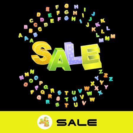 SALE. Vector 3d illustration with colored alphabet.   Vector