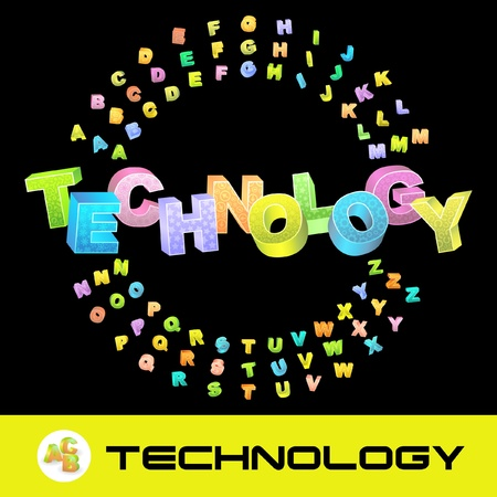 TECHNOLOGY. Vector 3d illustration with colored alphabet. Vector