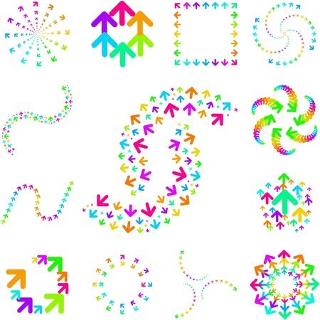 flechas curvas: Elementos de dise�o de arco iris de signos de flecha.   Vectores